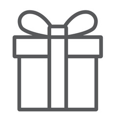 gift box line icon christmas and package vector image