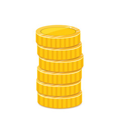 Golden coins stack metal currency realistic vector