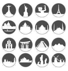 gray button famous places vector image