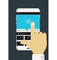 Hand holding mobile device with media player vector
