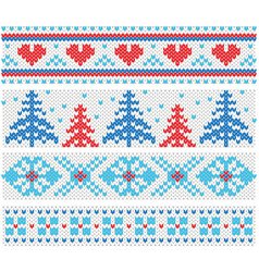 handmade knitted borders pattern with christmas vector image