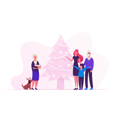 happy family new year and christmas preparation vector image