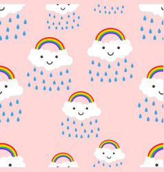 happy rainbow emotion with clouds seamless vector image