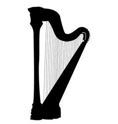 harp isolated silhouette musical intsrument black vector image