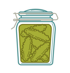 Jar with canned cucumbers vector