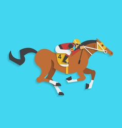 Jockey riding race horse number 4 vector