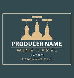 Label for wine with bottles and corkscrews vector
