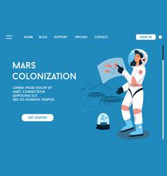 Landing page mars colonization concept vector
