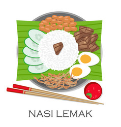 malaysian cuisine nasi lemak vector image