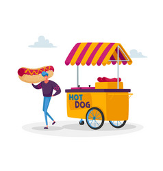 man buy street food takeaway junk meal from vector image
