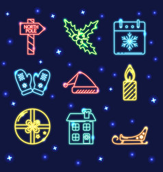 Neon set of shining christmas icons in line style vector