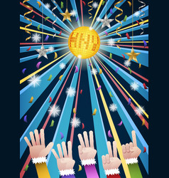 New year disco party countdown hands vector