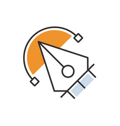 Orange pen tool icon design vector