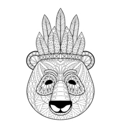 Panda with warbonnet in zentangle style Freehand vector image