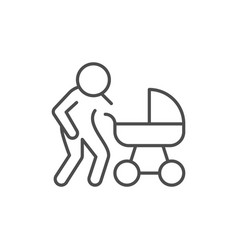 parent with bacarriage line outline icon vector image