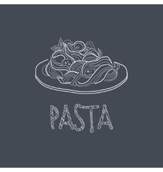 Pasta Sketch Style Chalk On Blackboard Menu Item vector