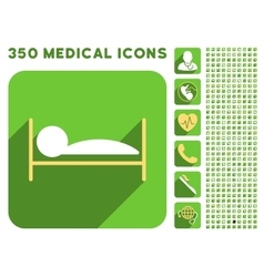 Patient Bed Icon and Medical Longshadow Icon Set vector