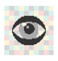 Pixel icon eye on a square background vector