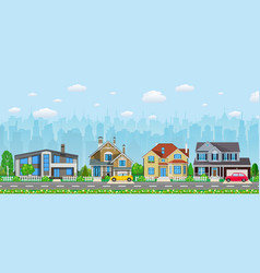 Private suburban houses with car vector