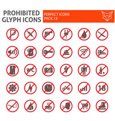 Prohibited glyph icon set warning symbols vector