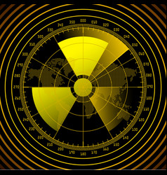 Radar screen with radioactive sign vector