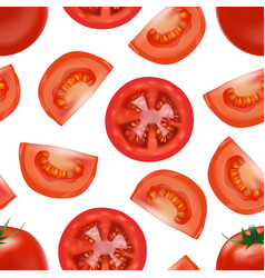 realistic detailed red tomato and segment parts vector image