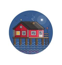 red fisherman stilt house icon in line art vector image