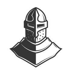 retro style knight helmet isolated on white vector image