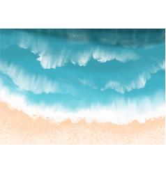 Sand beach with ocean wave background vector
