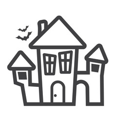 scary house line icon halloween and scary vector image