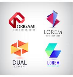 set abstract colorful ribbon logos vector image