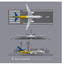 Set airplane on runway isolated vector