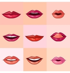Set of Beautiful Female Lips vector