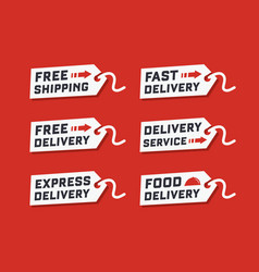 Set of delivery service on red background vector