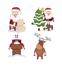 set santa claus reindeer design vector image