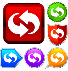 Set shiny icon series on buttons cycle arrows vector