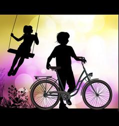 silhouettes children vector image