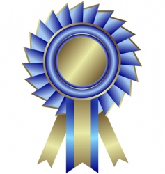 Silvery medal with blue ribbon vector