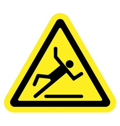 slippery yellow sign vector image