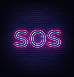 sos neon text design template sos neon vector image