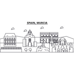 Spain murcia architecture line skyline vector