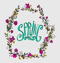 spring card with floral wreath spring word and vector image