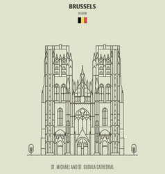 St michael and st gudula cathedral in brussels vector