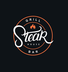 steak house hand written lettering logo vector image