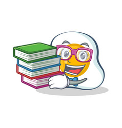 Student fried egg character cartoon with book vector
