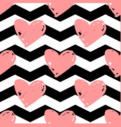 Tile pattern with pink hearts chevron background vector