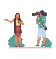 tv journalist or news reporter speaking vector image