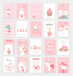 valentines day background with cute baanimal vector image