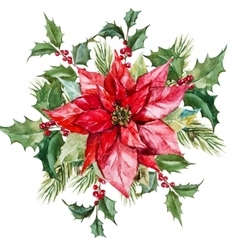 Watercolor christmas flowers vector