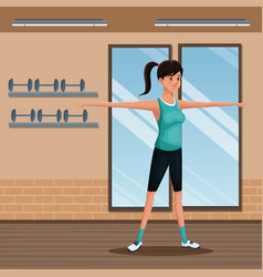 Woman sports training exercise gym workout vector
